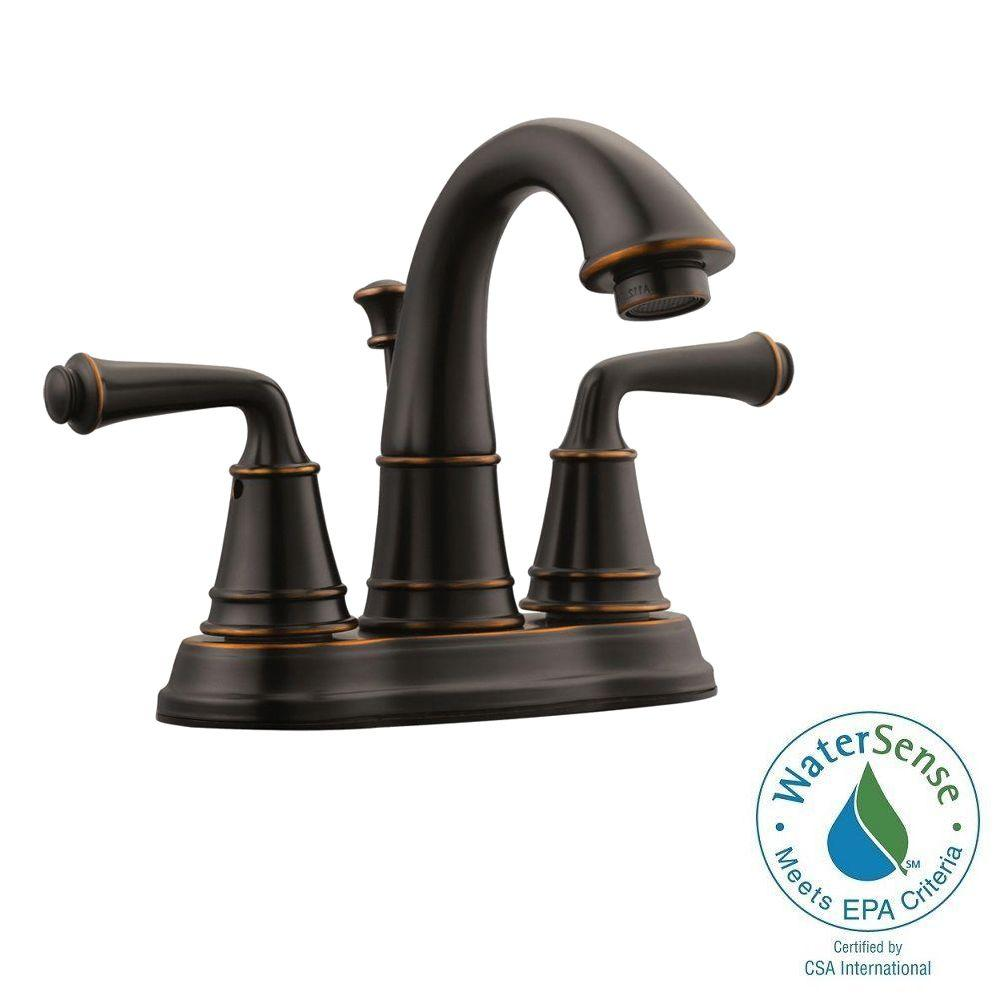 KOHLER Worth 4 in. Centerset 2-Handle Bathroom Faucet in Oil Rubbed ...