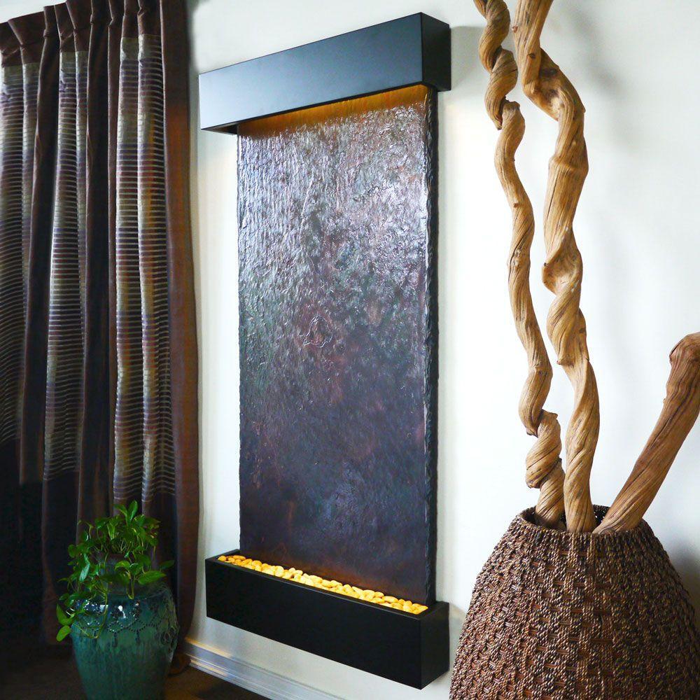 Grande Nojoqui Falls Lightweight Slate Wall Fountain in Black Onyx Trim