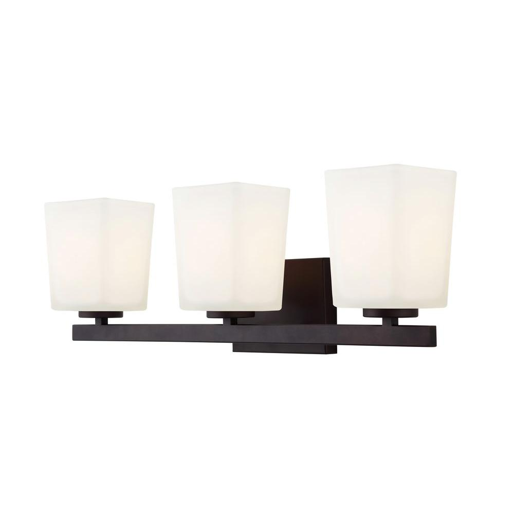 CANARM Hartley 3-Light Oil Rubbed Bronze Vanity Light with Flat Opal Glass