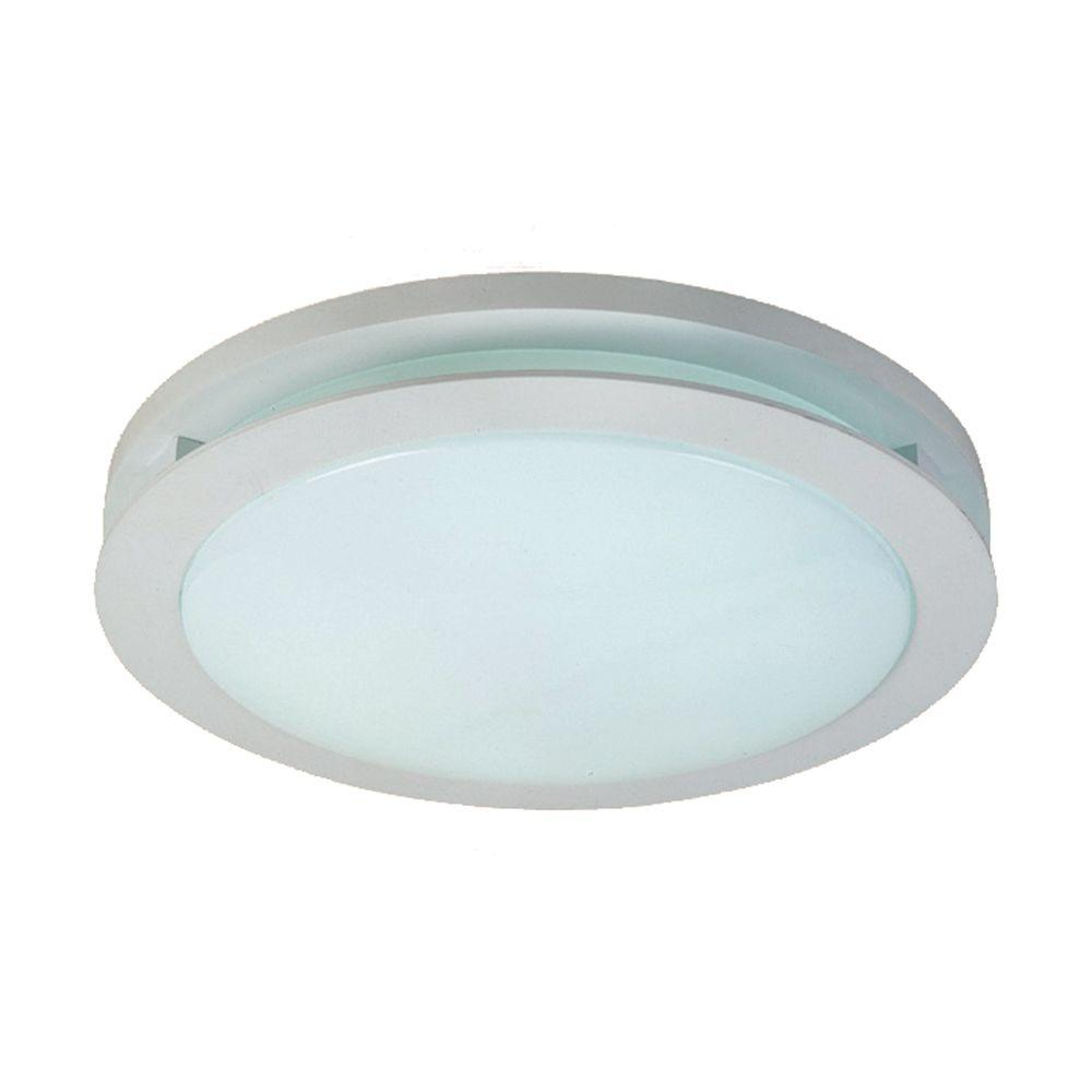 Hampton Bay 2-Light White Fluorescent Round Deco Ceiling Flushmount ...