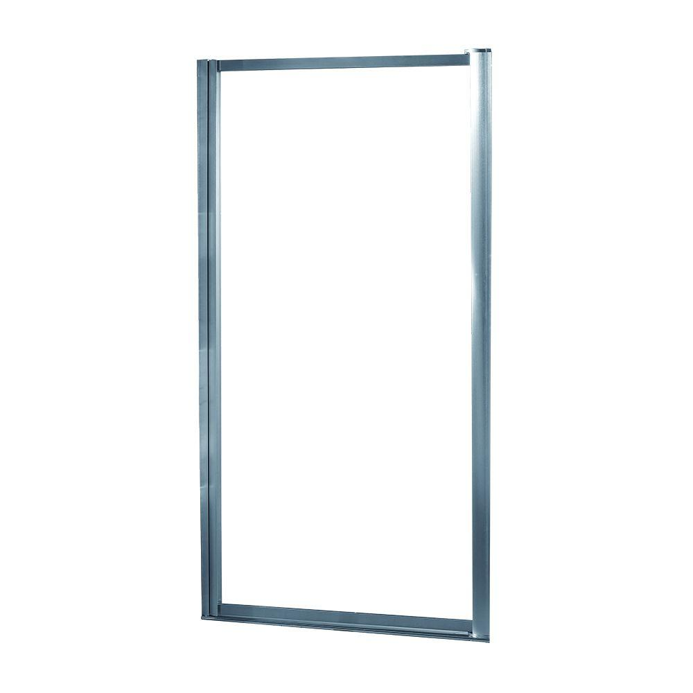 Foremost Tides 27 in. to 29 in. x 65 in. Framed Pivot Shower Door in Silver with Rain Glass