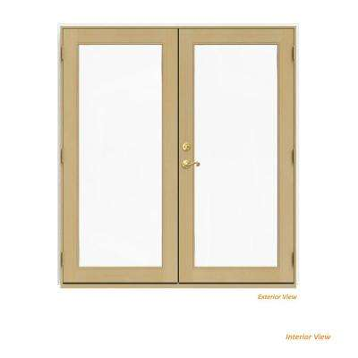 72 in. x 80 in. W-2500 White Clad Wood Left-Hand Full Lite French Patio Door w/Unfinished Interior