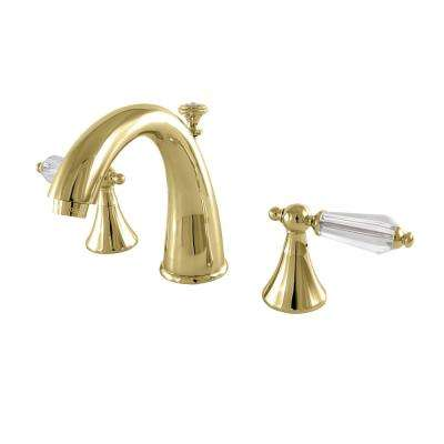 Modern Crystal 8 in. Widespread 2-Handle High-Arc Bathroom Faucet in Polished Brass