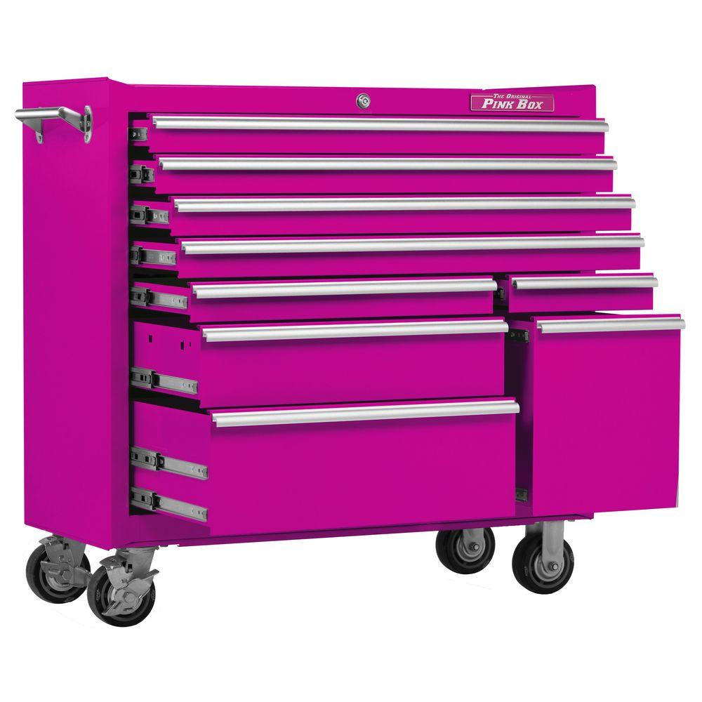 The Original Pink Box 41 in. 9-Drawer Rolling Cabinet with Pink