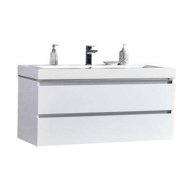 Maui 48 in. W x 18.5 in. D LED Illuminated Bathroom Vanity in White with Acrylic Vanity Top in White with White Basin