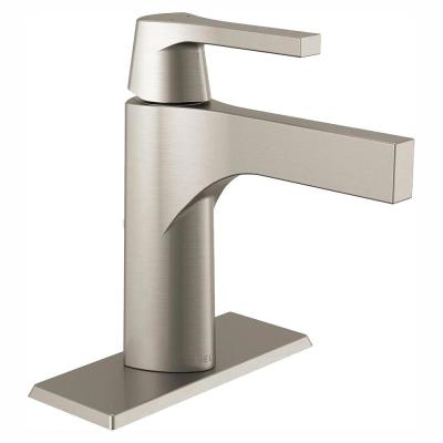 Zura Single Hole Single-Handle Bathroom Faucet with Metal Drain Assembly in Stainless