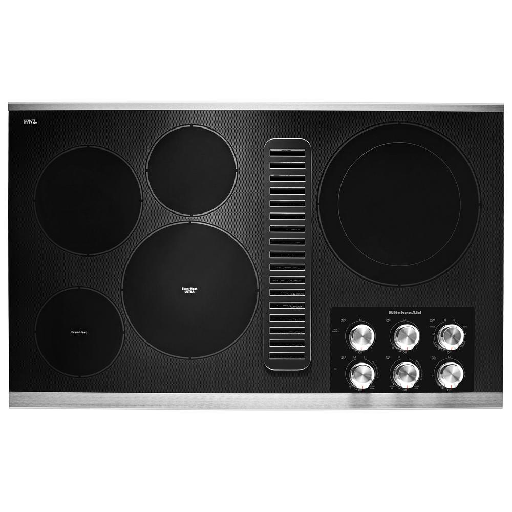 KitchenAid KCED606G 36 Inch Wide Built-In Electric Cooktop with Downdraft Ventil Stainless Steel