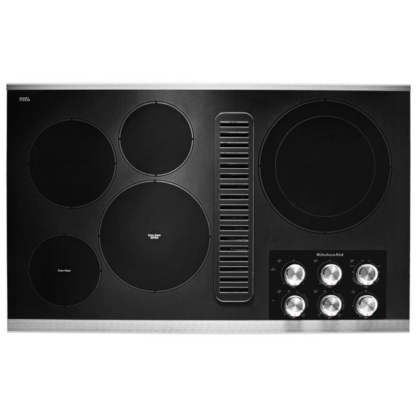 36 in. Radiant Electric Downdraft Cooktop in Stainless Steel with 5 Elements