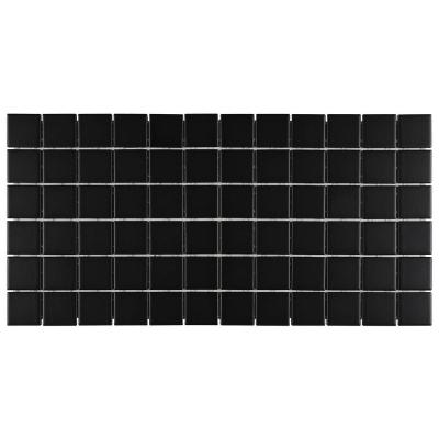 Restore Matte Black 12 in. x 24 in. x 6.35 mm Glazed Ceramic Mosaic Tile (2 sq. ft./piece)