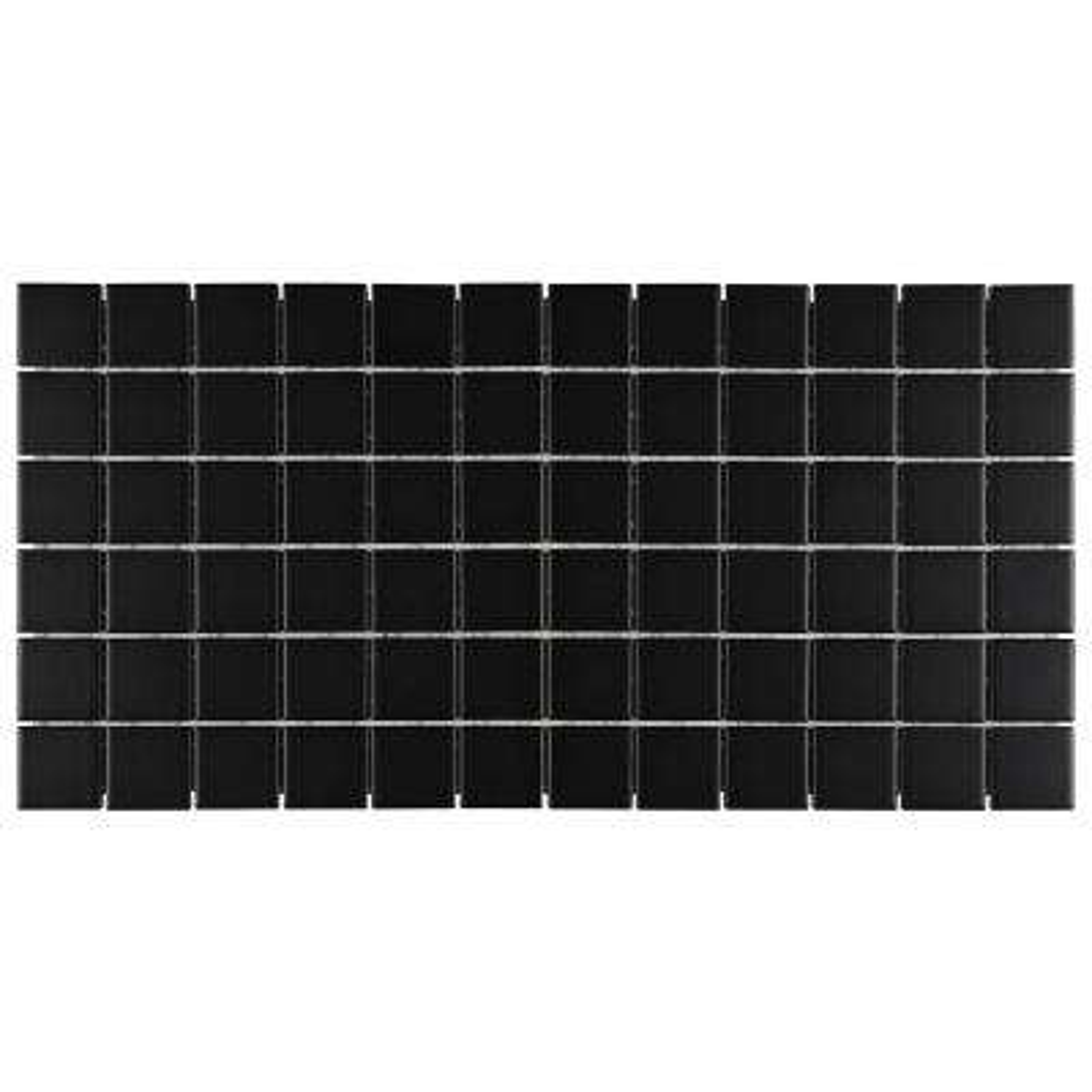 Restore Matte Black 12 in. x 24 in. x 6.35 mm Glazed Ceramic Mosaic Tile (2 sq. ft./piece)