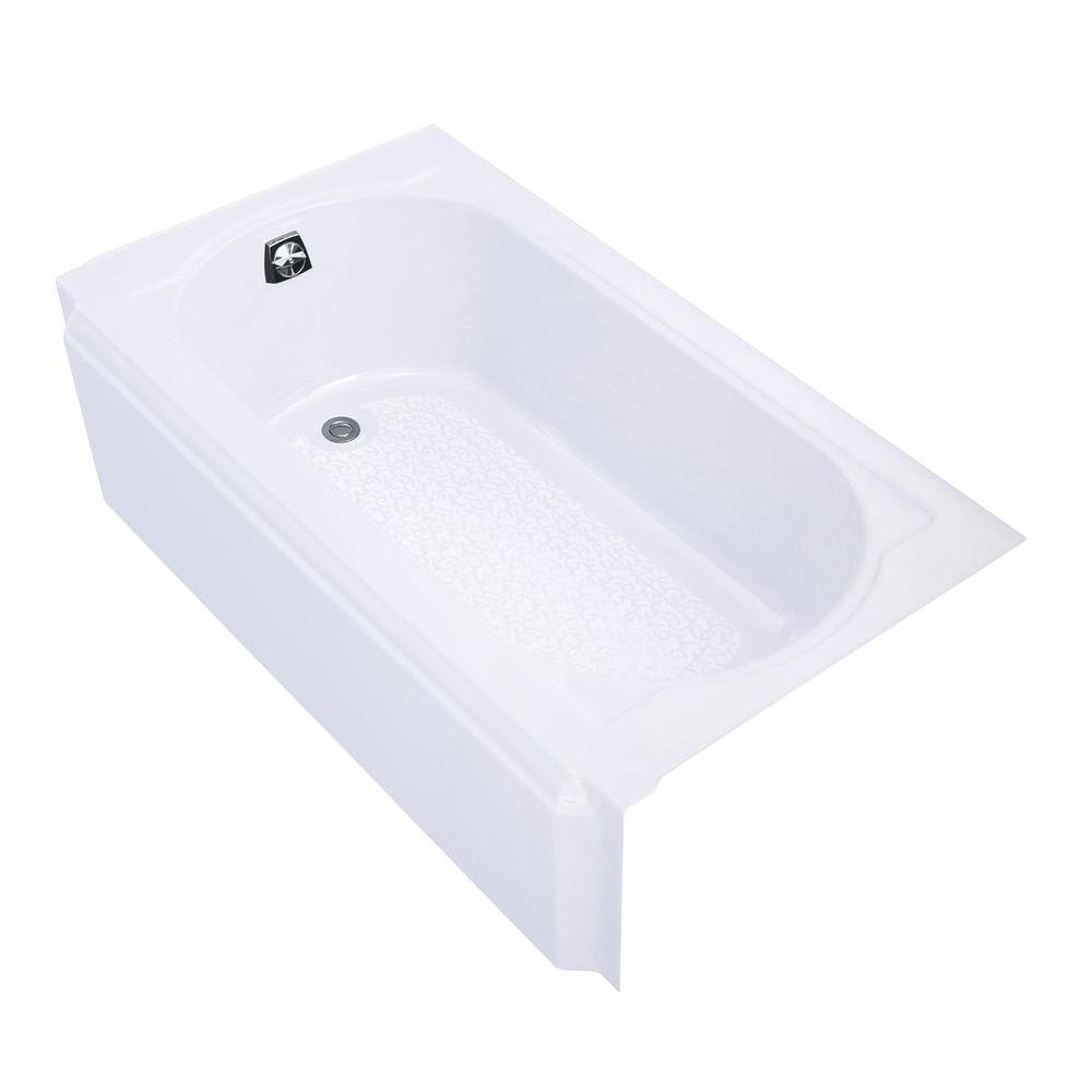 left drain rectangular alcove cast iron soaking tub in white