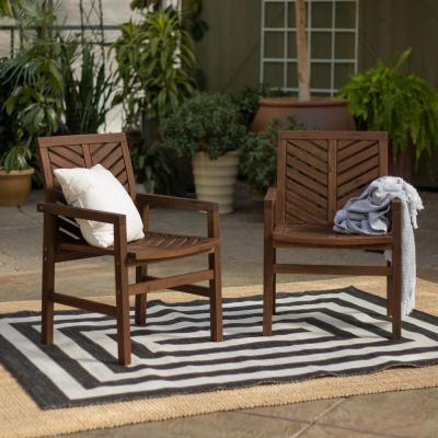 Dark Brown Acacia Wood Outdoor Patio Lounge Chair (2-Pack)