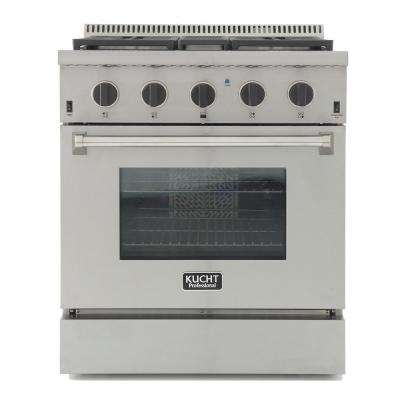 Pro-Style 30 in. 4.2 cu. ft. Dual Fuel Range w/ Sealed Burners, Convection Oven in Stainless Steel w/ Tuxedo Black Knobs