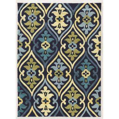 Le Soleil Damask Blue And Green 8 Ft X 10 Area Rug