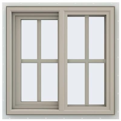 23.5 in. x 23.5 in. V-4500 Series Desert Sand Vinyl Left-Handed Sliding Window with Colonial Grids/Grilles