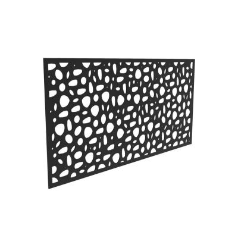 3 ft. x 6 ft. River Rock Black Vinyl Decorative Screen Panel