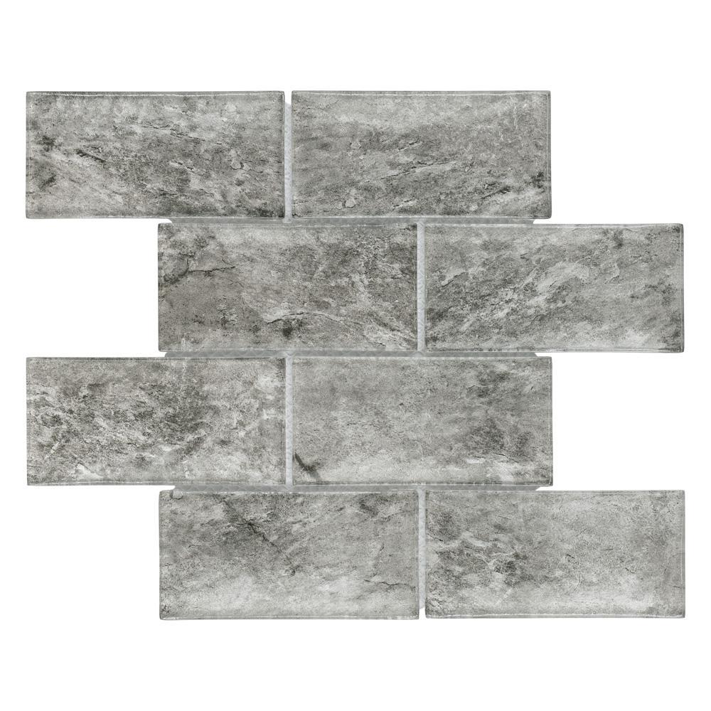 Merola Tile Igloo Convex Subway Smoke 11-5/8 in. x 11-7/8 in. x 12 mm Glass Mosaic Tile
