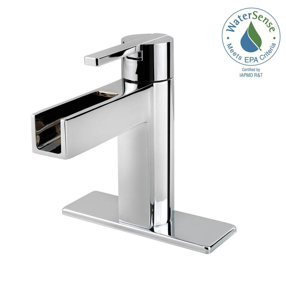 Centerset Single Handle Waterfall Bathroom Faucet In Polished Chrome