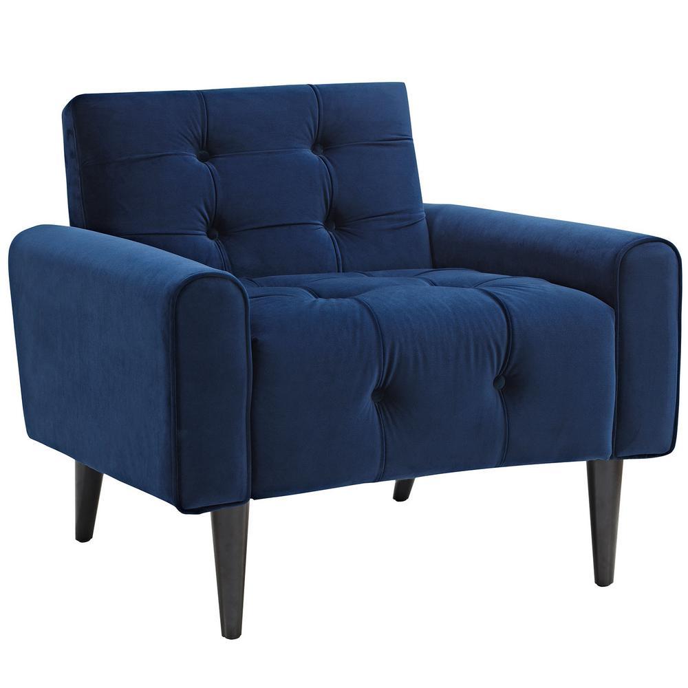 Navy Delve Velvet Arm Chair