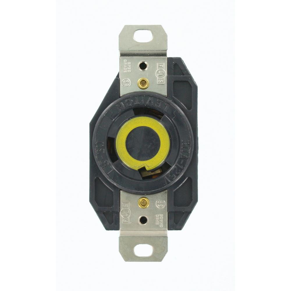 Leviton 30 Amp 125-Volt Flush Mounting Grounding Locking Outlet, Black
