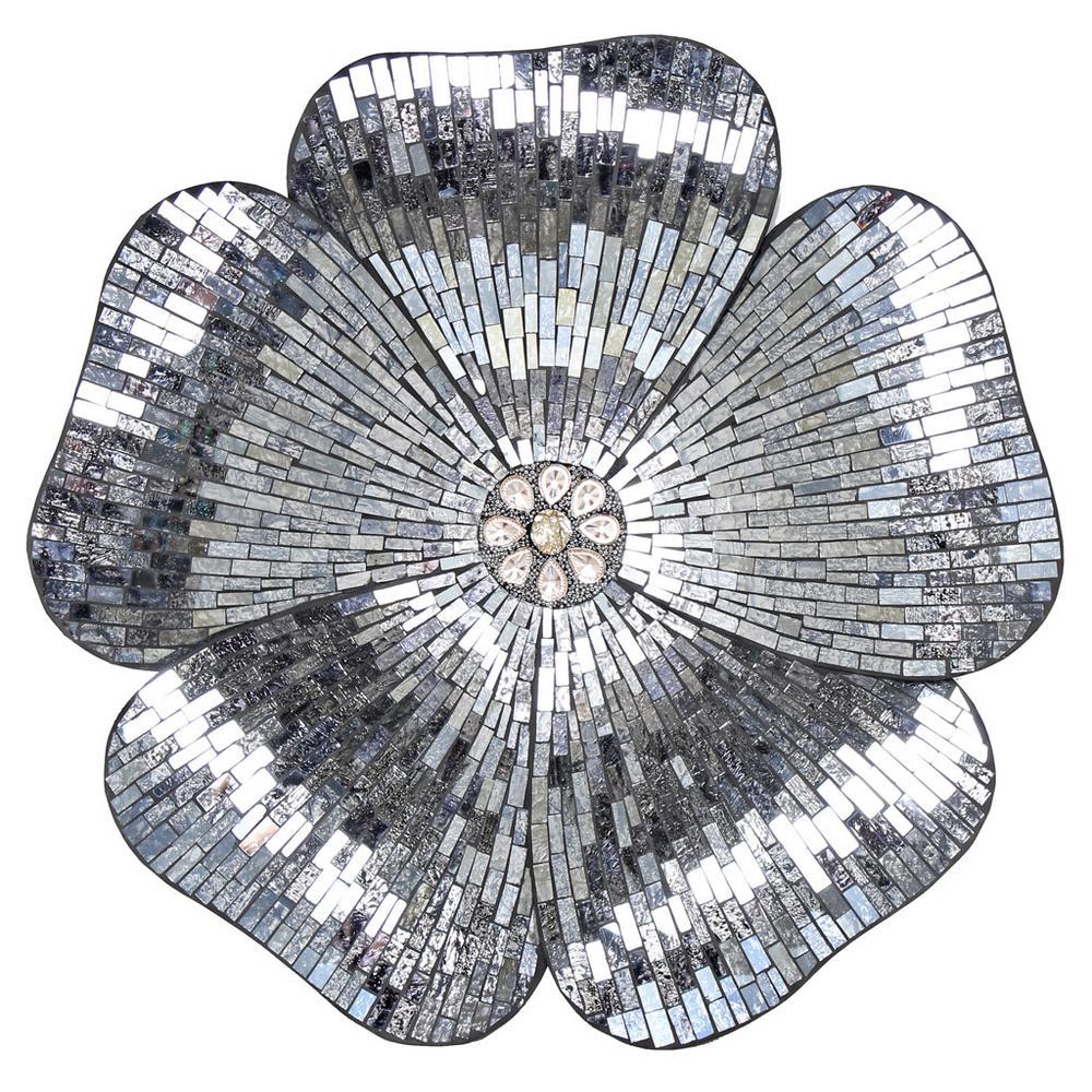 River Of Goods Gray Mosaic Glass Flower Wall Decor-16911