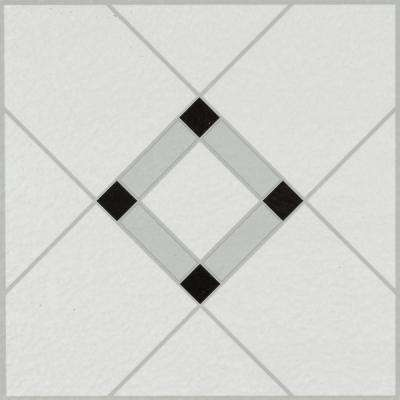 Lattice Lane Black/White 12 in. x 12 in. Residential Peel and Stick Vinyl Tile Flooring (45 sq. ft. / case)