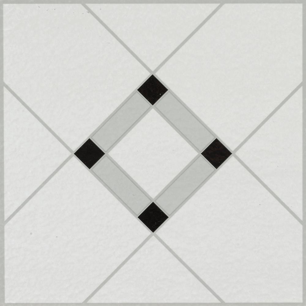 Lattice Lane Black/White 12 in. x 12 in. Residential Peel and Stick Vinyl Tile Flooring (45 sq. ft. / case)