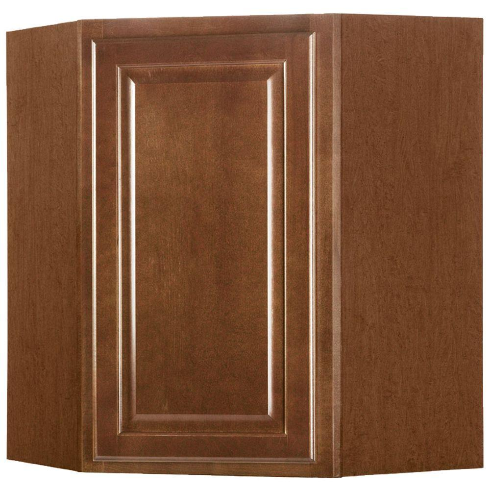 Hampton Bay Hampton Assembled 24x30x12 In. Diagonal Corner Wall Kitchen  Cabinet In Cognac