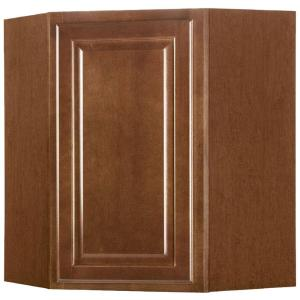 Hampton Bay Embled 24x30x12 In Diagonal Corner Wall Kitchen Cabinet Cognac Kwd2430 Cog The Home Depot
