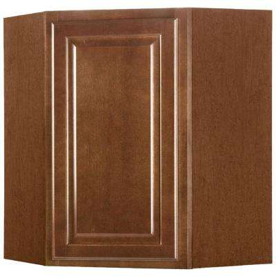Hampton Assembled 24x30x12 in. Diagonal Corner Wall Kitchen Cabinet in Cognac