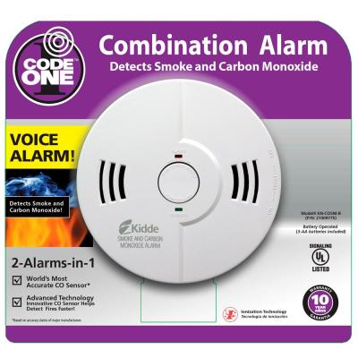 Battery Operated Smoke and Carbon Monoxide Combination Detector with Voice Alarm and Ionization Sensor