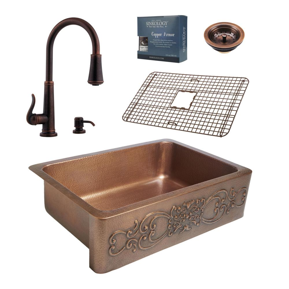 SINKOLOGY Pfister All In One Ganku Copper Farmhouse 33 In. Kitchen Sink  Design