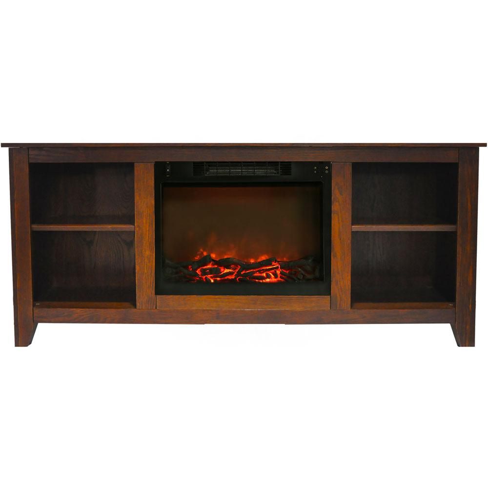 Bel Air 63 in. Electric Fireplace and Entertainment Stand in Walnut