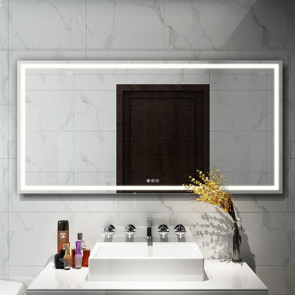 72 in. W x 36 in. H Frameless Rectangular LED Light Bathroom Vanity Mirror