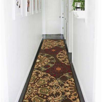 Ottohome Collection Contemporary Damask Design Brown 2 ft. x 7 ft. Runner Rug