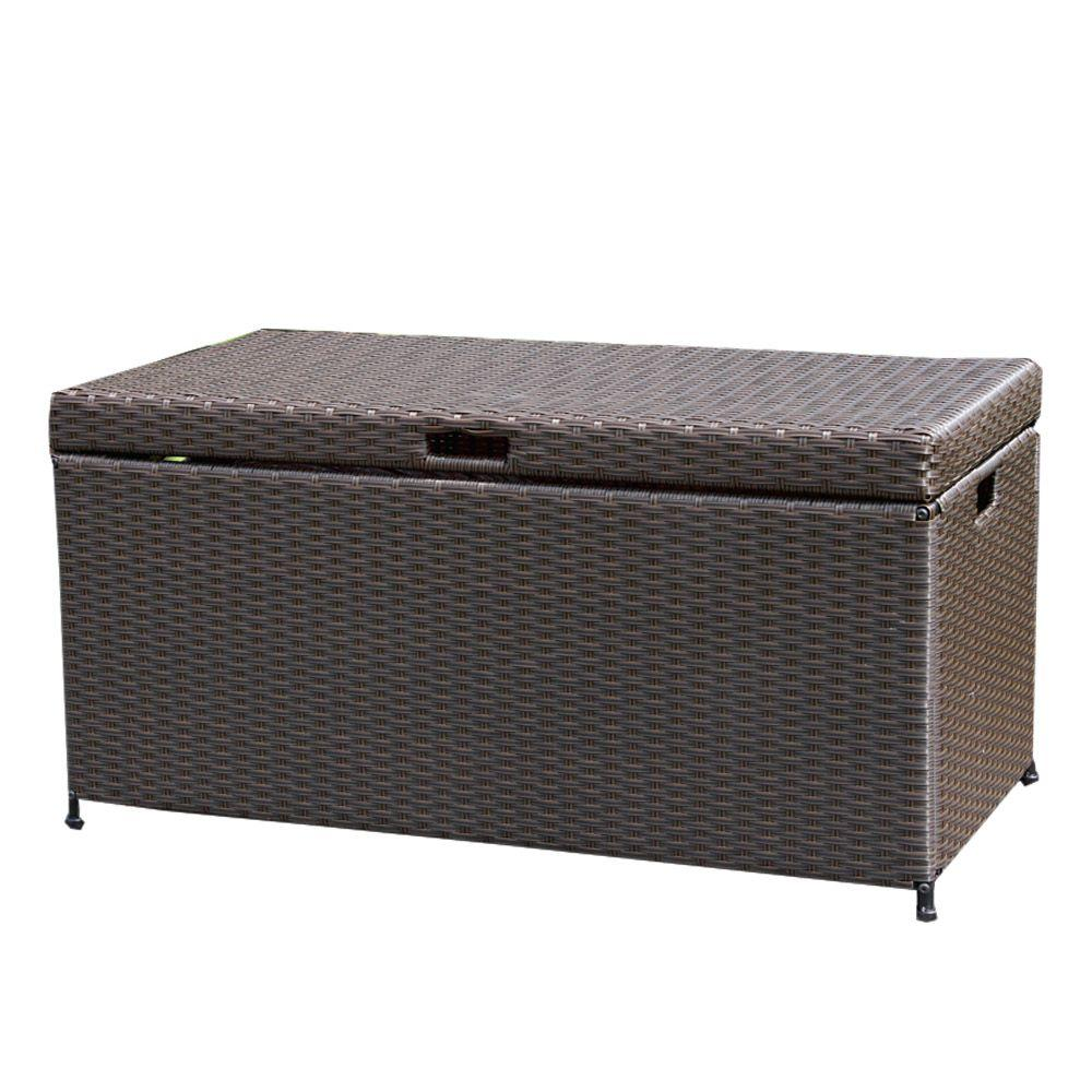 Jeco espresso wicker patio furniture storage deck box for Furniture box