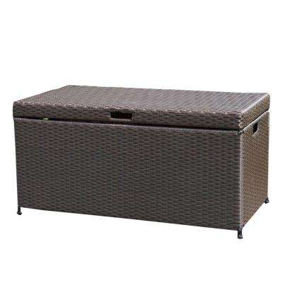 Espresso Wicker Patio Furniture Storage Deck Box