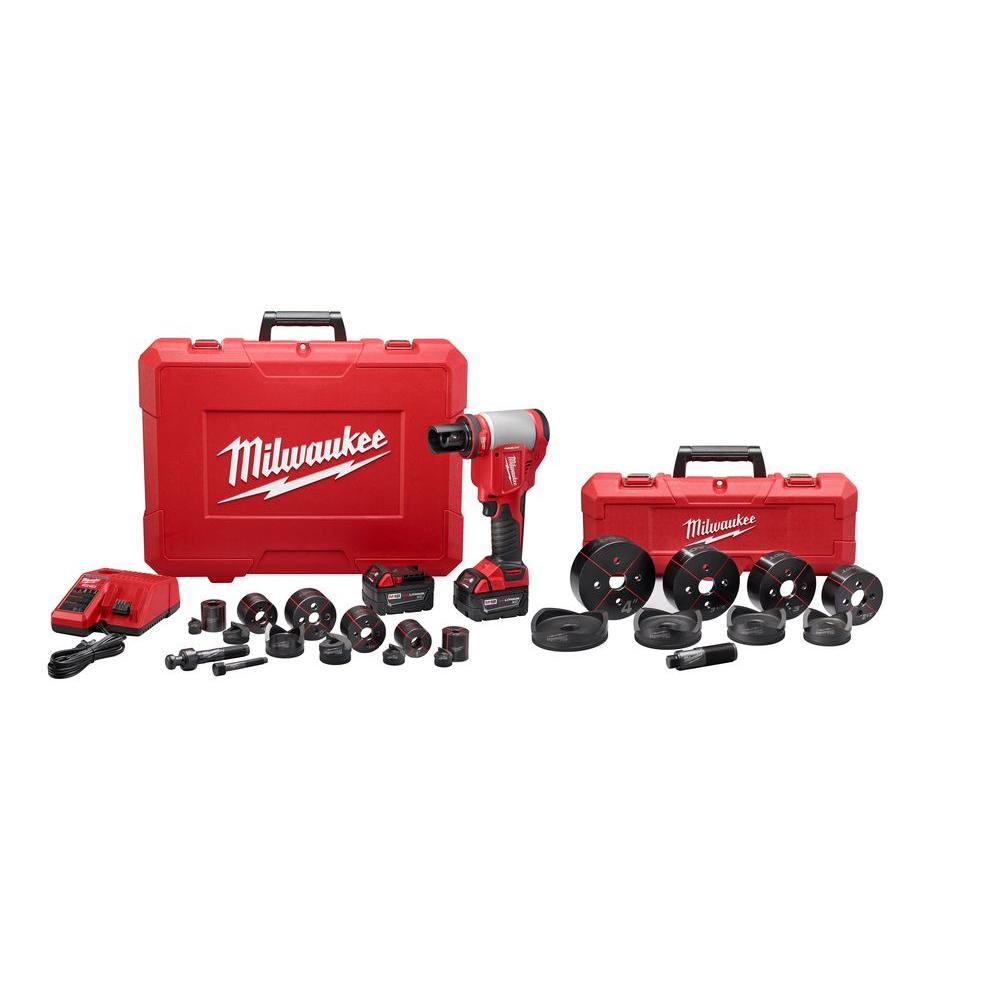 Milwaukee M18 18-Volt Lithium-Ion Cordless 1/2 in. - 4 in. Force Logic High Capacity Knockout Kit