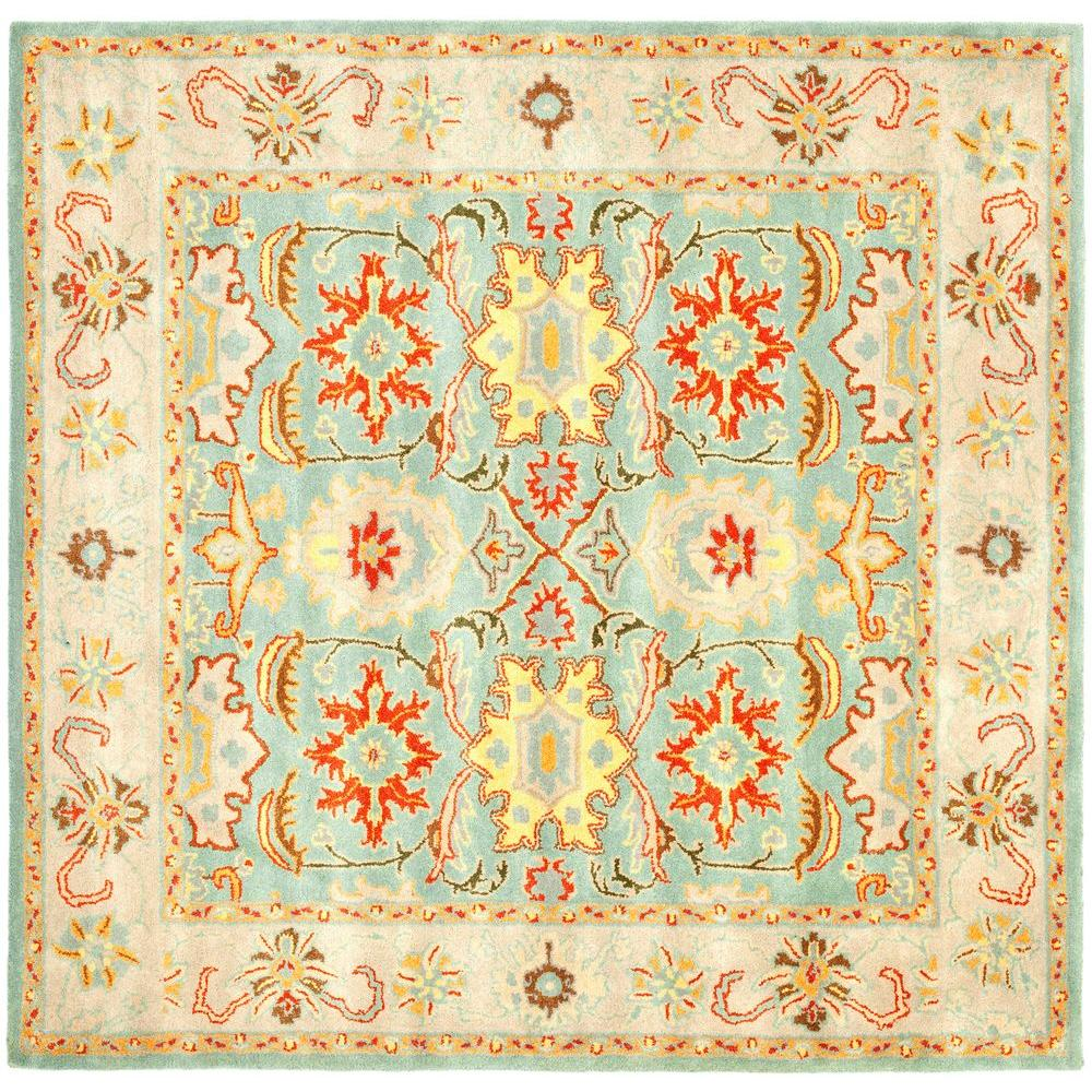 Heritage Light Blue/Ivory 8 ft. x 8 ft. Square Area Rug