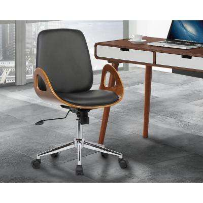 Wallace 40 in. Black Faux Leather and Chrome Finish Mid-Century Office Chair