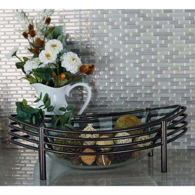 Clear Decorative Glass Bowl with a Metallic Black Base & Blacks - Decorative Plates \u0026 Bowls - Decorative Storage - The Home Depot