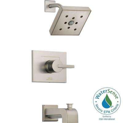 Vero 1-Handle Wall Mount Tub and Shower Faucet Trim Kit in Stainless with H2Okinetic (Valve Not Included)
