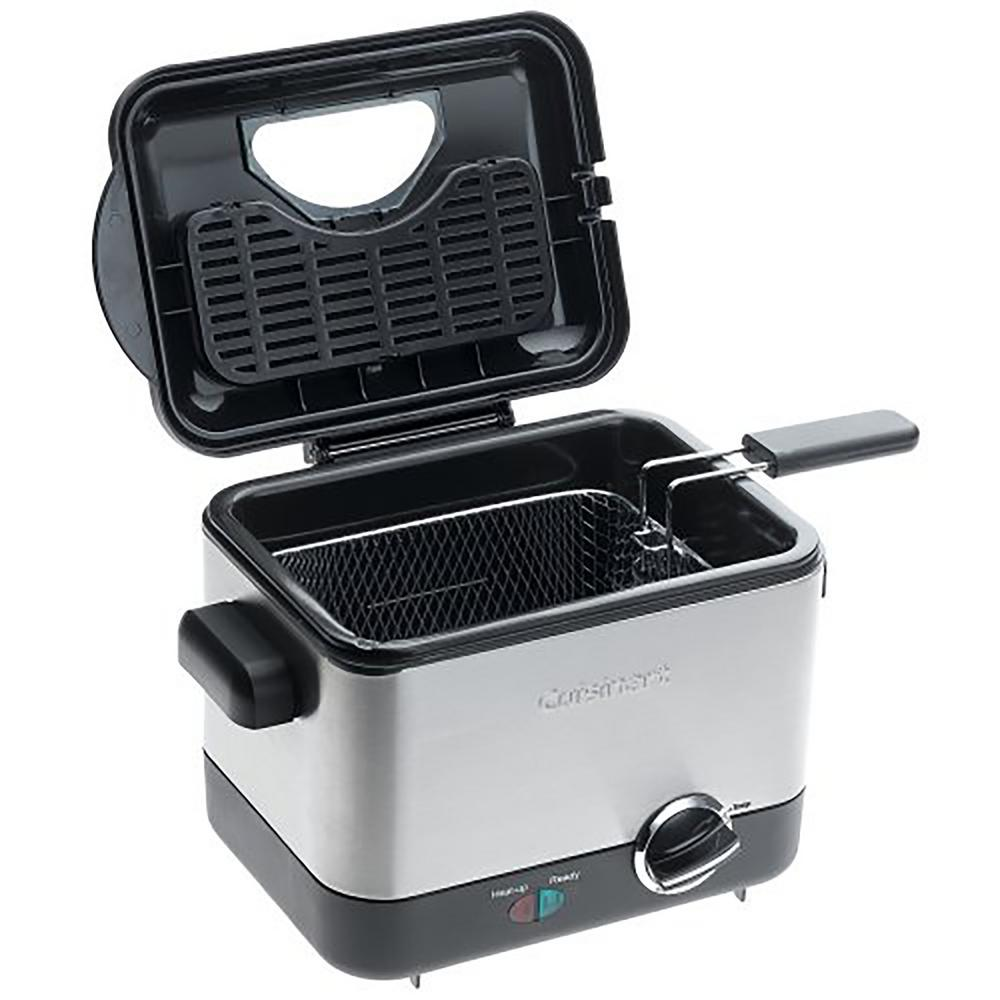 Compact Deep Fryer, Stainless The Cuisinart CDF-100 Compact Deep Fryer is a deep fryer that takes up less counter space. Designed to fry batches up to 3/4 of a lb. in just 1.1 l of oil, this is a great deep fryer even for spur-of-the-moment snacks and meals. The compact design allows creative cooks to prepare fried calamari to top a salad, and moms to fry up mozzarella sticks for kids. Temperatures up to 375°F and a die-cast frying bowl maintain selected oil temperatures for restaurant-quality results. Easy-to-use, Easy-to-clean, and simple to store, it could make deep frying an everyday event. Color: Stainless.