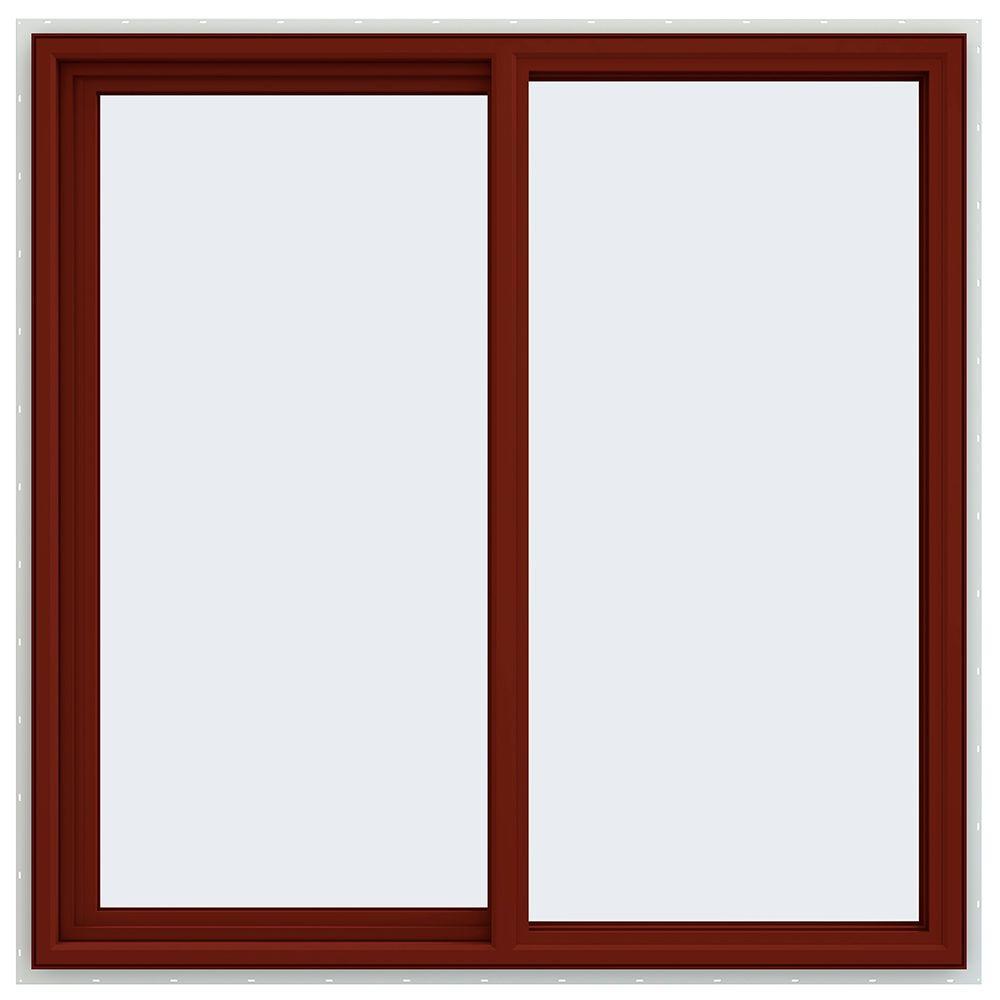 47.5 in. x 47.5 in. V-4500 Series Left-Hand Sliding Vinyl Window - Red