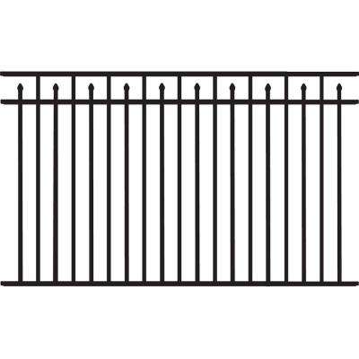 Brilliance Heavy-Duty 4-1/2 ft. H x 8 ft. W Black Aluminum Pre-Assembled Fence Panel