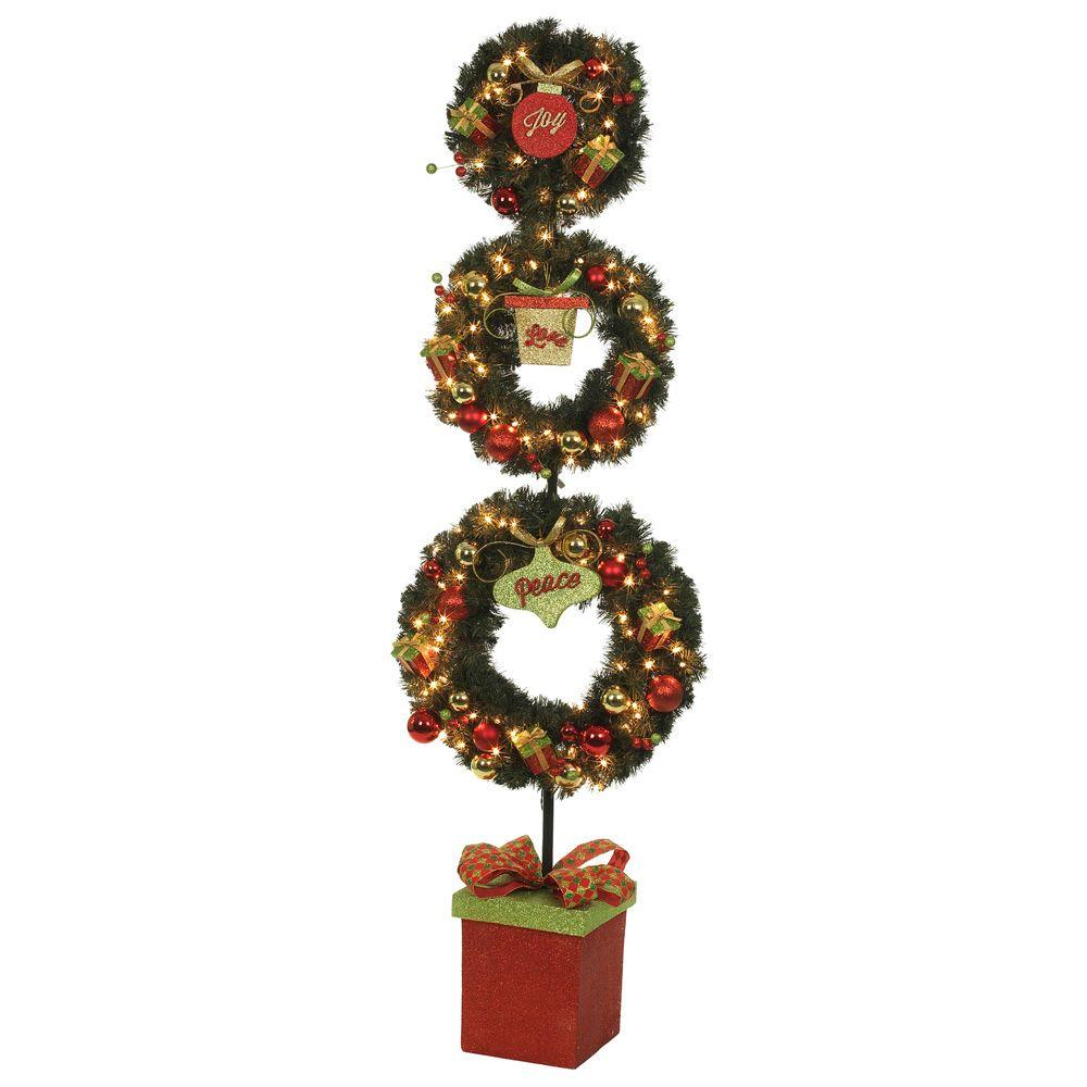 Home Accents Holiday 6 ft. Pre-Lit 3-Wreath Christmas Topiary with Poinsettias, Ornaments, and Gifts-