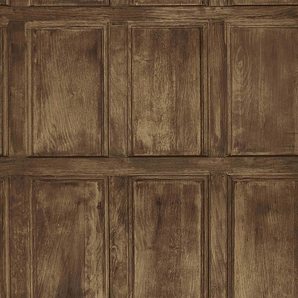 Brewster Common Room Brown Wainscoting Wallpaper-IWB00845 ...