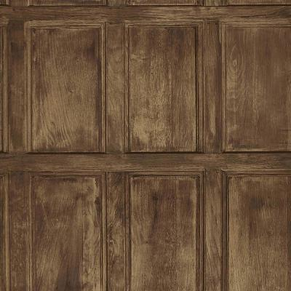 Common Room Brown Wainscoting Wallpaper