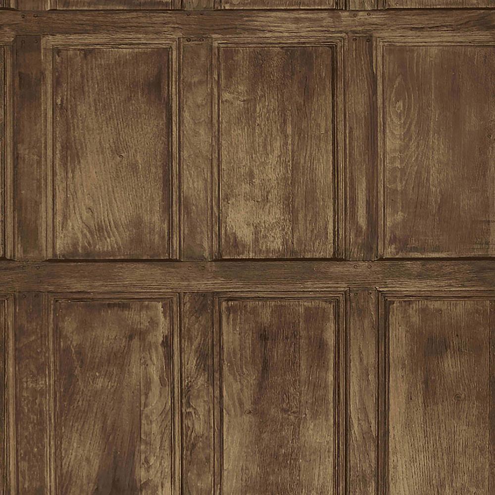 Brewster Common Room Brown Wainscoting Wallpaper Sample Iwb00845sam