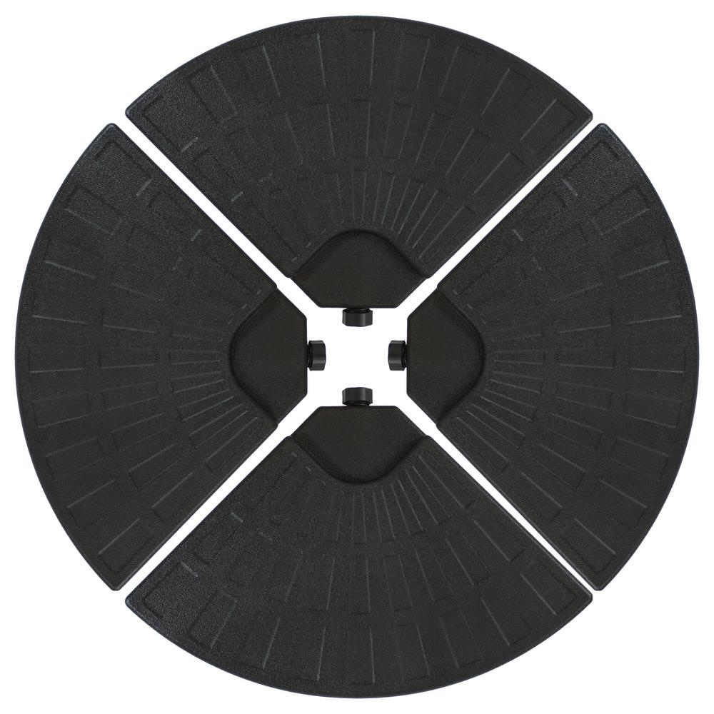 478661dc3b9d Sunnydaze Decor Heavy-Duty Cantilever Offset Patio Umbrella Base Plate in  Black Weights for Outdoor Cross Style Bases (Set of 4)